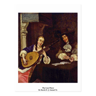 The Lute Player By Borch D. J. Gerard Ter Postcard