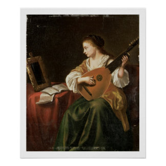 The Lute Player (oil on panel) Poster