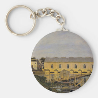 The Machine at Marly by Alfred Sisley Basic Round Button Keychain
