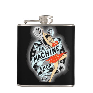 The Machine Shop pin up girl Flask