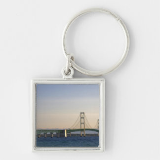 The Mackinac Bridge spanning the Straits of 3 Silver-Colored Square Keychain