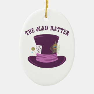 The Mad Hatter Ceramic Oval Ornament