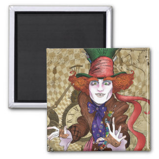 The Mad Hatter | Mad as a Hatter Square Magnet