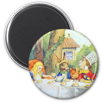 The Mad Hatters Tea Party Full Color 2 Inch Round Magnet