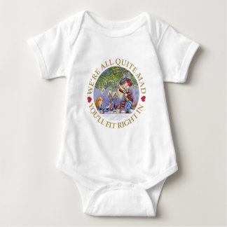 "The Mad Hatter's Tea Party - ""We're all Quite Mad"" Baby Bodysuit"