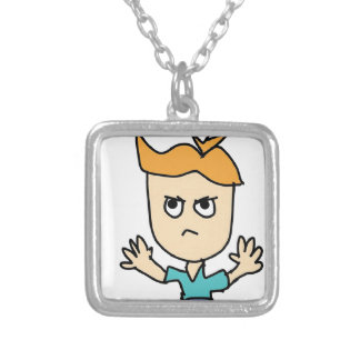 the mad kid cartoon silver plated necklace