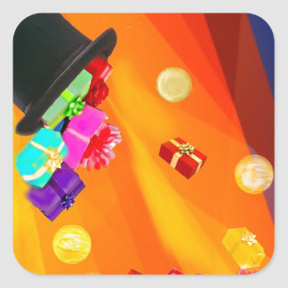 The magician hat brings golden gifts to you. square sticker