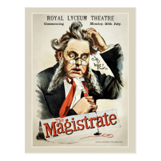 The Magistrate antique vintage print 1885 theatre Postcard