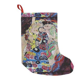 The maiden by Gustav Klimt,art nouveau,art deco,vi Small Christmas Stocking