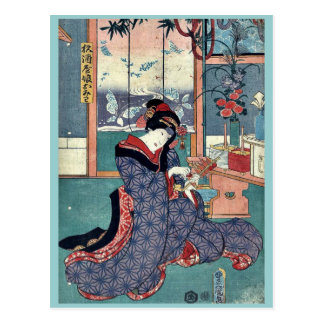The maiden of the liquor store by Utagawa,Toyokuni Postcard