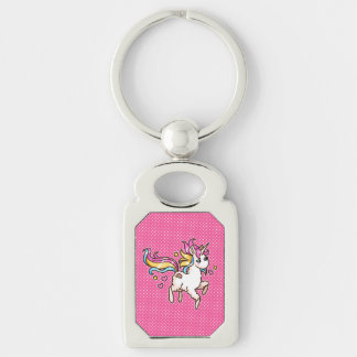 The Majestic Llamacorn Silver-Colored Rectangle Keychain