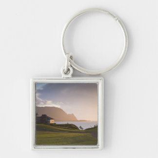 The Makai golf course in Princeville 3 Silver-Colored Square Keychain