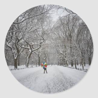 The Mall in Winter, Central Park, New York City Round Sticker