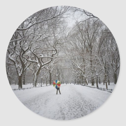 The Mall in Winter, Central Park, New York City Round Stickers