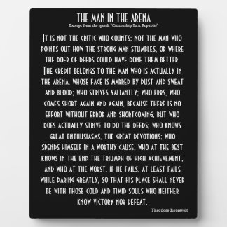 'The Man In The Arena' Plaque