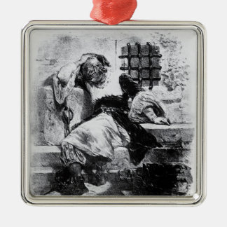 The Man in the Iron Mask in his Prison Silver-Colored Square Ornament