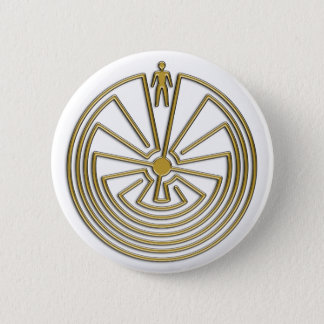 The Man in the Maze - gold 2 Inch Round Button