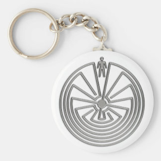 The Man in the Maze - silver Keychain