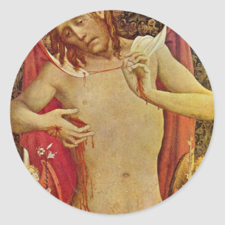 The Man Of Sorrows By Meister Francke (Best Qualit Round Sticker