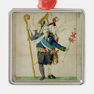 The Man with Six Heads', caricature of Charles Silver-Colored Square Ornament