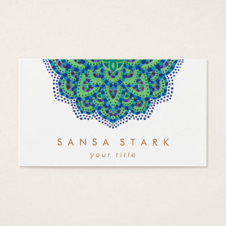 The Mandala-Cool Emerald Business Card