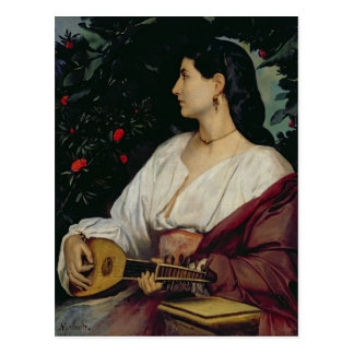 The Mandolin Player, 1865 Postcard