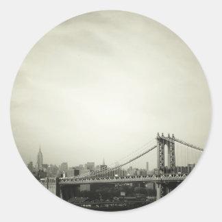 The Manhattan Bridge in Black and White Round Sticker