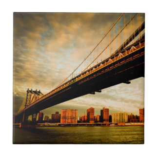 The Manhattan bridge view from Brooklyn side (NYC) Ceramic Tile