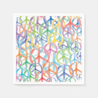 The Many Colors of Peace Signs Paper Napkins
