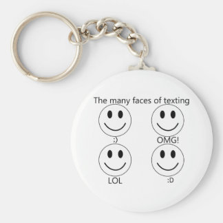 The many faces of texting basic round button keychain