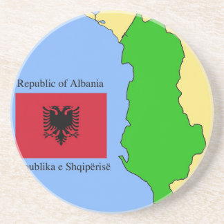 The map and flag of Albania Coasters