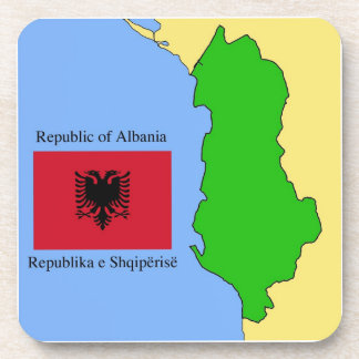 The map and flag of Albania Drink Coasters