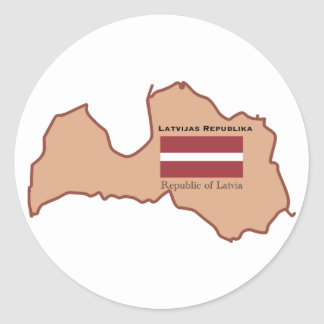 The Map and Flag of Latvia Classic Round Sticker