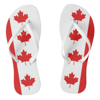 The Maple Leaf flag of Canada Flip Flops