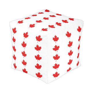 The Maple Leaf flag of Canada Pouf