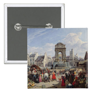 The Market and Fountain of the Innocents 2 Inch Square Button