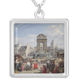 The Market and Fountain of the Innocents Silver Plated Necklace