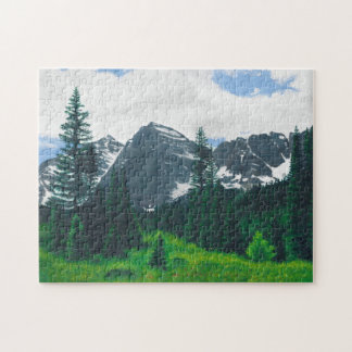 The Maroon Bells in Aspen, Colorado. Jigsaw Puzzle