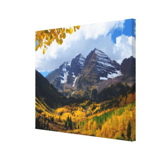 The Maroon Bells in Autumn Gold Canvas Print