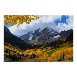 The Maroon Bells in Autumn Gold Poster