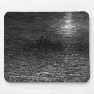 The marooned ship in a moonlit sea mouse pad