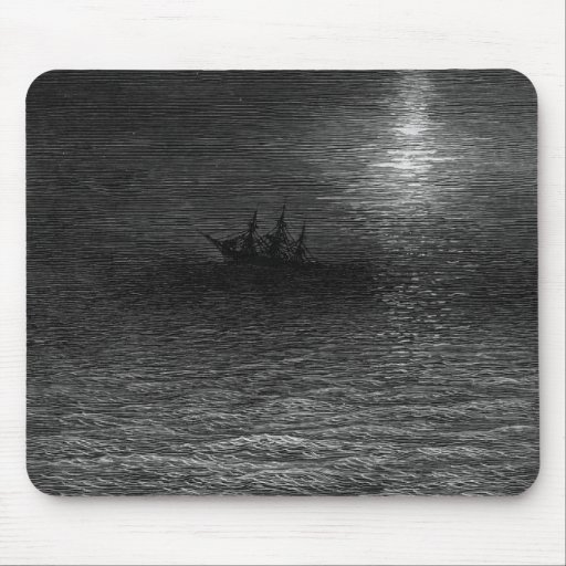 The marooned ship in a moonlit sea mousepad