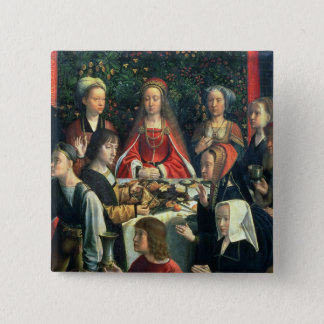 The Marriage at Cana, detail of the bride and surr 2 Inch Square Button