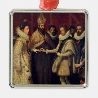 The Marriage of Catherine de Medici Silver-Colored Square Ornament