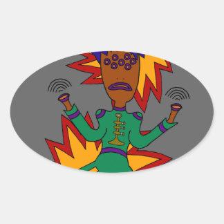 The Martian Jazz Man Oval Sticker