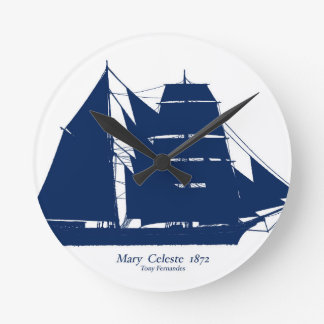 The Mary Celeste 1872 by tony fernandes Round Clock