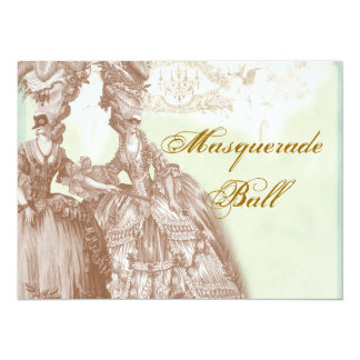 The Masquerade Ball, teal and gold Card