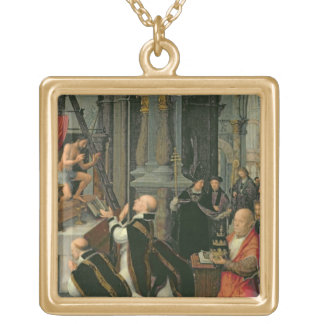The Mass of St. Gregory (oil on canvas) Gold Plated Necklace