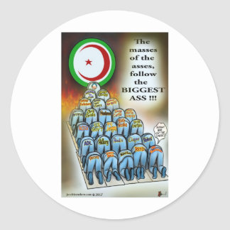 the masses of the asses round sticker