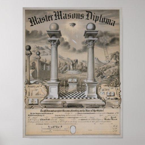 masonic certificate template - the master mason diploma poster zazzle
